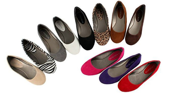 4c82908710882 Amazon has the West Blvd Women s Basic Round Toe Ballet Flats on sale for  as low as  9.99 (Black Suede).